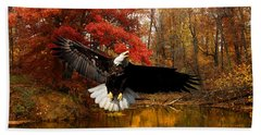 Beach Towel featuring the photograph Eagle In Autumn Splendor by Randall Branham