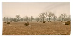 Earlying Morning Hay Bails Beach Towel