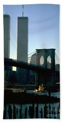East River Tugboat Beach Towel by Mark Gilman
