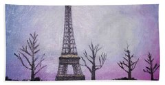 Eiffel At Night Beach Sheet