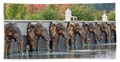 Elephants Of The Mandir Beach Towel