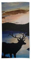 Beach Towel featuring the painting Elk At Sunset by Norm Starks