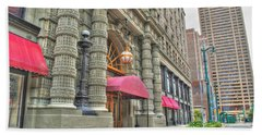Beach Towel featuring the photograph Ellicott Square Building And Hsbc by Michael Frank Jr