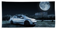 Beach Towel featuring the photograph Evo 7 At Night by Steve Purnell