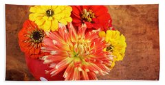 Fall Flower Arrangement Beach Towel
