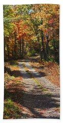 Fall On The Wyrick Trail Beach Sheet by Denise Romano