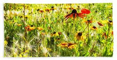 Field Of Bright Colorful Wildflowers Beach Sheet by Anne Mott