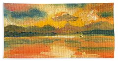 Fiery Sunset Beach Sheet by Julie Brugh Riffey