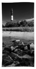 Fire Island In Black And White Beach Towel