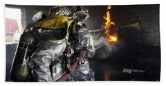 Firefighters Extinguish A Fire Beach Towel