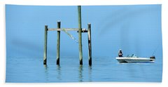 Fishing At The Bird Rack Beach Towel