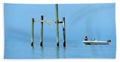 Fishing At The Bird Rack Beach Towel