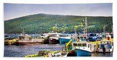 Fishing Boats In Newfoundland Beach Towel