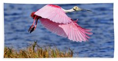 Flight A Roseate Spoonbill Beach Towel