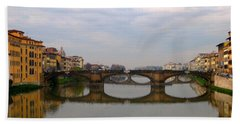 Florence Italy Bridge Beach Towel by Catie Canetti