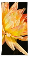 Beach Towel featuring the photograph Flower Reflected On Black by Donna Corless