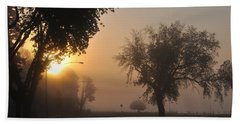 Foggy Morn Street Beach Towel