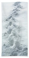 Footsteps In The Snow Beach Towel