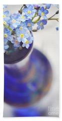 Forget Me Nots In Deep Blue Vase Beach Towel by Lyn Randle