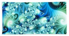 Beach Towel featuring the digital art Fractal And Swan by Odon Czintos