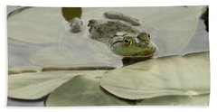 Frog On Lily Pads  Beach Towel