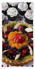 Fruit Tart Pie And Cupcakes  Beach Sheet by Garry Gay