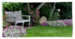 Beach Towel featuring the photograph Garden Bench by Michelle Joseph-Long