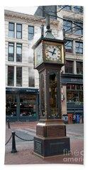 Beach Sheet featuring the digital art Gastown Steam Clock by Carol Ailles