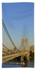 Beach Towel featuring the photograph George Washington Bridge And Boat by Zawhaus Photography