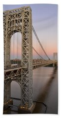 Beach Towel featuring the photograph George Washington Bridge At Sunset by Zawhaus Photography