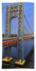 George Washington Bridge At Twilight Beach Towel