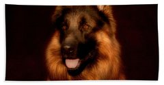 German Shepherd Portrait Beach Sheet