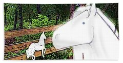 Beach Towel featuring the drawing Ghost Horse by George Pedro