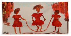 Girls In Red Dresses Jump Rope Beach Sheet by Mary Carol Williams