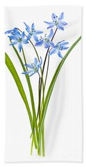 Blue Spring Flowers Beach Towel