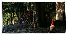 Gnome And The Woodpile Beach Towel
