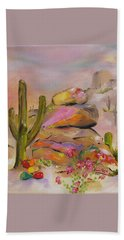 Beach Towel featuring the painting Gold-lined Rocks by Judith Rhue