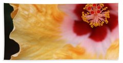 Golden And Crimson Hibiscus Beach Towel