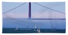 Beach Towel featuring the photograph Golden Gate Windsurfers by Don Schwartz