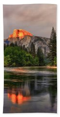 Golden Light On Halfdome Beach Towel
