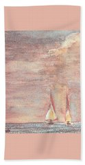 Beach Towel featuring the painting Golden Sails by Richard James Digance