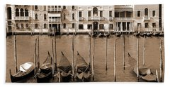 Beach Towel featuring the photograph Gondolas Outside Salute by Donna Corless