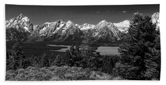 Beach Towel featuring the photograph Grand Tetons by Dan Wells