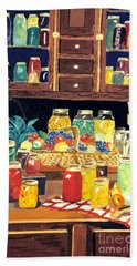 Beach Towel featuring the painting Granny's Cupboard by Julie Brugh Riffey