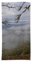 Grants Pass In The Fog Beach Sheet by Mick Anderson