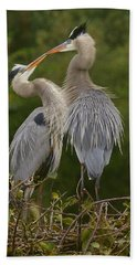 Great Blue Heron Couple Beach Towel by Myrna Bradshaw
