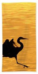 Beach Towel featuring the photograph Great Blue Heron Landing In Golden Light by Randall Branham