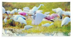 Beach Sheet featuring the photograph Great Egret Flying by Dan Friend