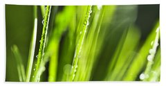 Green Dewy Grass  Beach Towel