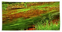 Green Forest River Beach Towel